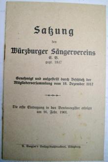 Titelblatt einer alten Satzung von 1912
